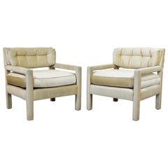 Mid-Century Modern Milo Baughman Parsons Attributed Pair of Velvet Lounge Chairs