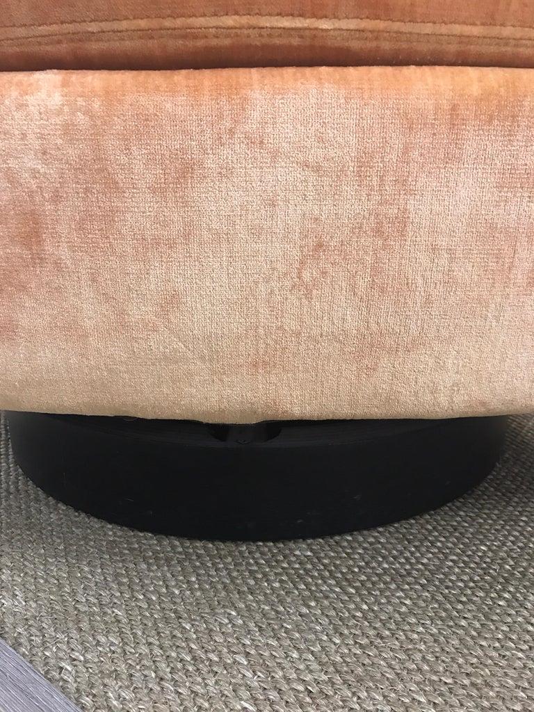 Mid-Century Modern Milo Baughman Peach Velvet Swivel Barrel Back Chairs For Sale 5