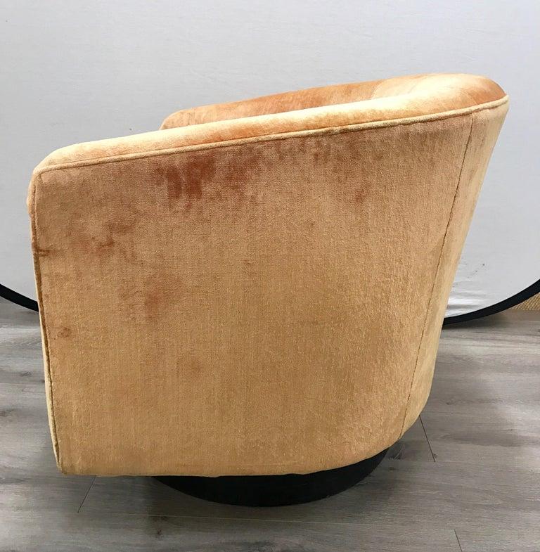 Mid-20th Century Mid-Century Modern Milo Baughman Peach Velvet Swivel Barrel Back Chairs For Sale