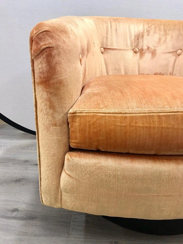 Mid-Century Modern Milo Baughman Peach Velvet Swivel Barrel Back Chairs For Sale 1