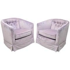 Mid-Century Modern Milo Baughman Purple Barrel Back Club Lounge Chairs, a Pair