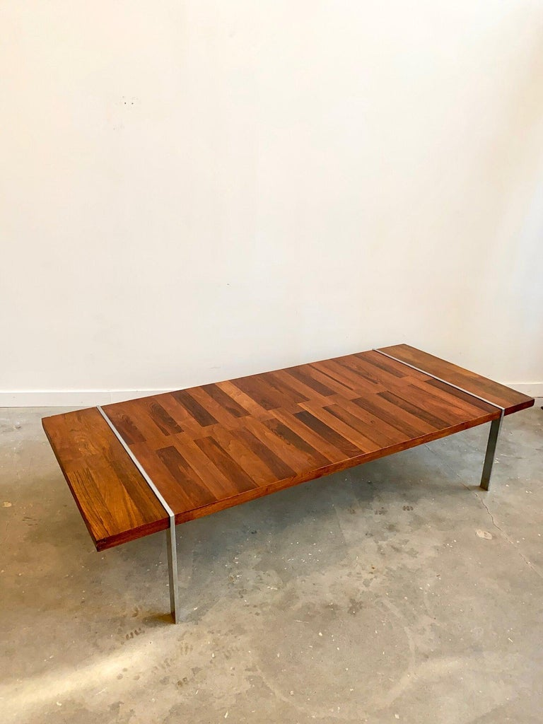 Mid-Century Modern Roland Carterrosewood coffee table by Lanes Vibrato Collection on chrome legs. -1965  Additional information: Materials: Rosewood, chrome  Period: 1960's  Condition: In good condition  Place of Origin: USA Dimensions: H