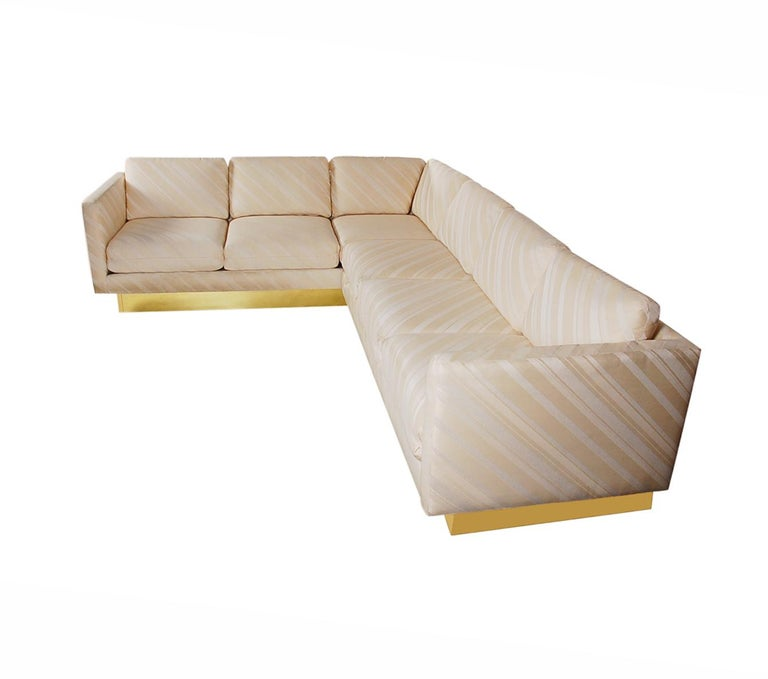 American Mid-Century Modern Milo Baughman Sectional Sofa L Shaped with Brass Plinth Base For Sale