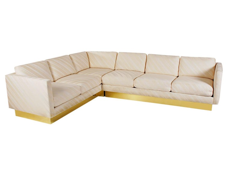 Mid-Century Modern Milo Baughman Sectional Sofa L Shaped with Brass Plinth Base In Good Condition For Sale In Philadelphia, PA