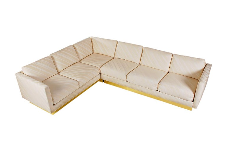 Mid-Century Modern Milo Baughman Sectional Sofa L Shaped with Brass Plinth Base For Sale 1