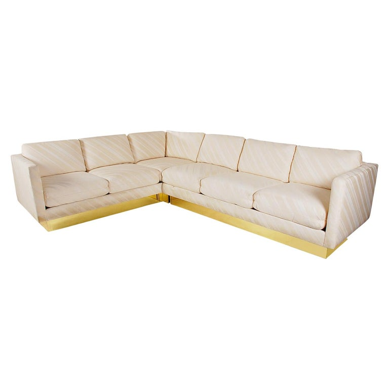 Mid-Century Modern Milo Baughman Sectional Sofa L Shaped with Brass Plinth Base For Sale