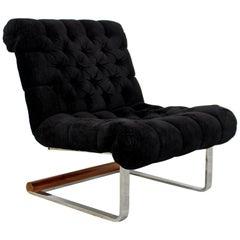 Mid-Century Modern Milo Baughman Slipper Chrome Wood Cantilever Lounge Chair