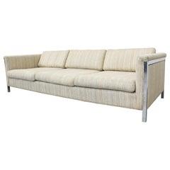 Mid-Century Modern Milo Baughman Style 3-Seat Chrome Frame Sofa