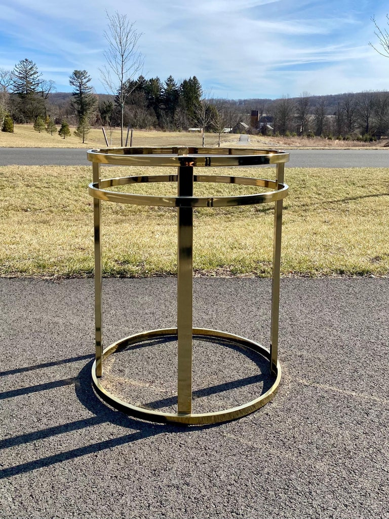 Mid-Century Modern Milo Baughman Style Brass Glass Round Dining Table For Sale 5