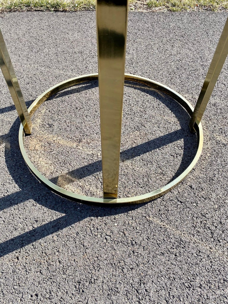 Mid-Century Modern Milo Baughman Style Brass Glass Round Dining Table For Sale 7