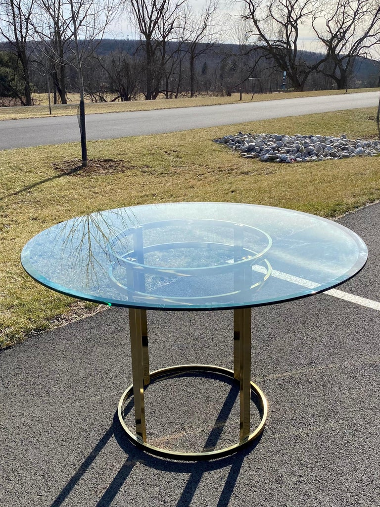 Plated Mid-Century Modern Milo Baughman Style Brass Glass Round Dining Table For Sale