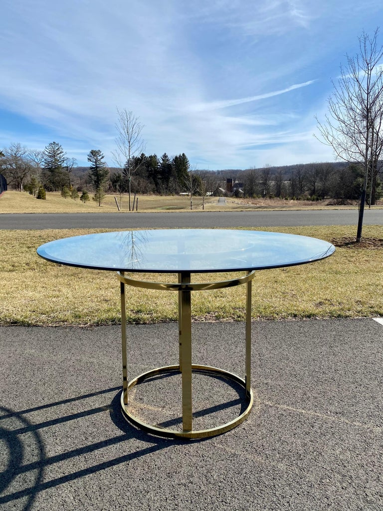 Late 20th Century Mid-Century Modern Milo Baughman Style Brass Glass Round Dining Table For Sale