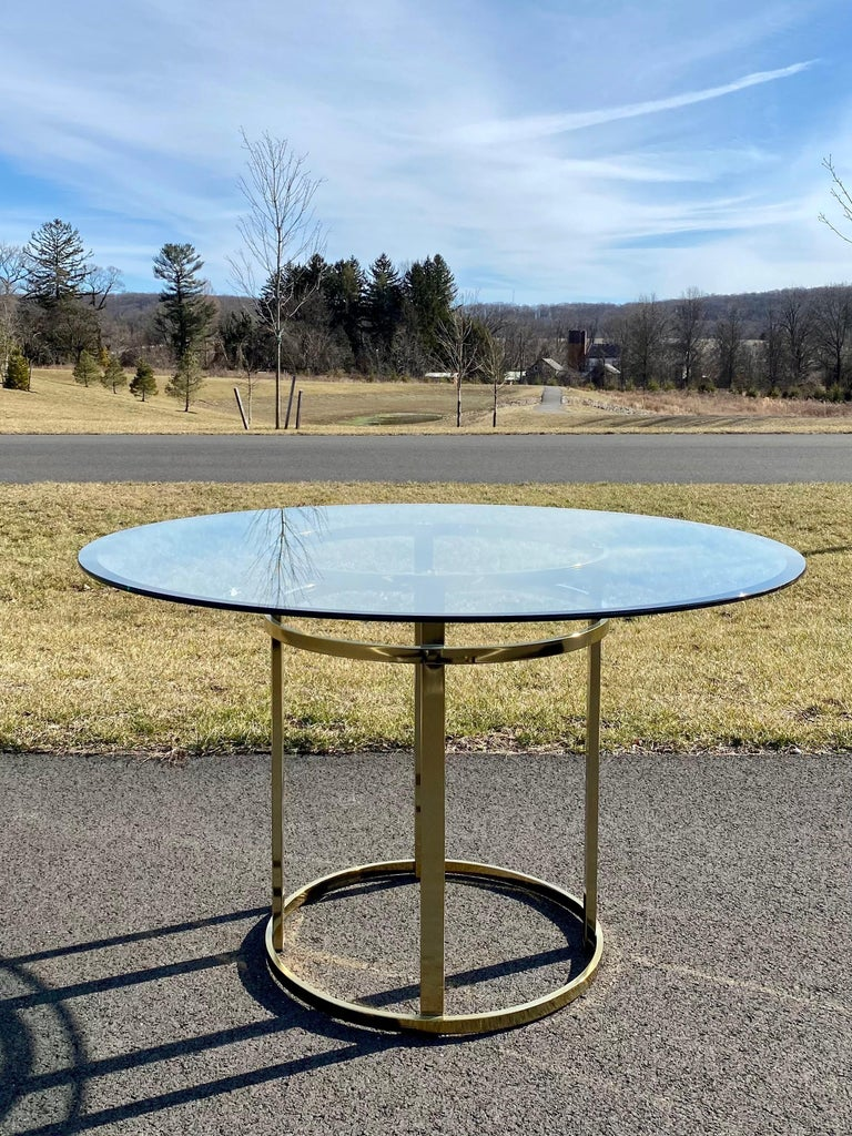 Mid-Century Modern Milo Baughman Style Brass Glass Round Dining Table For Sale 1