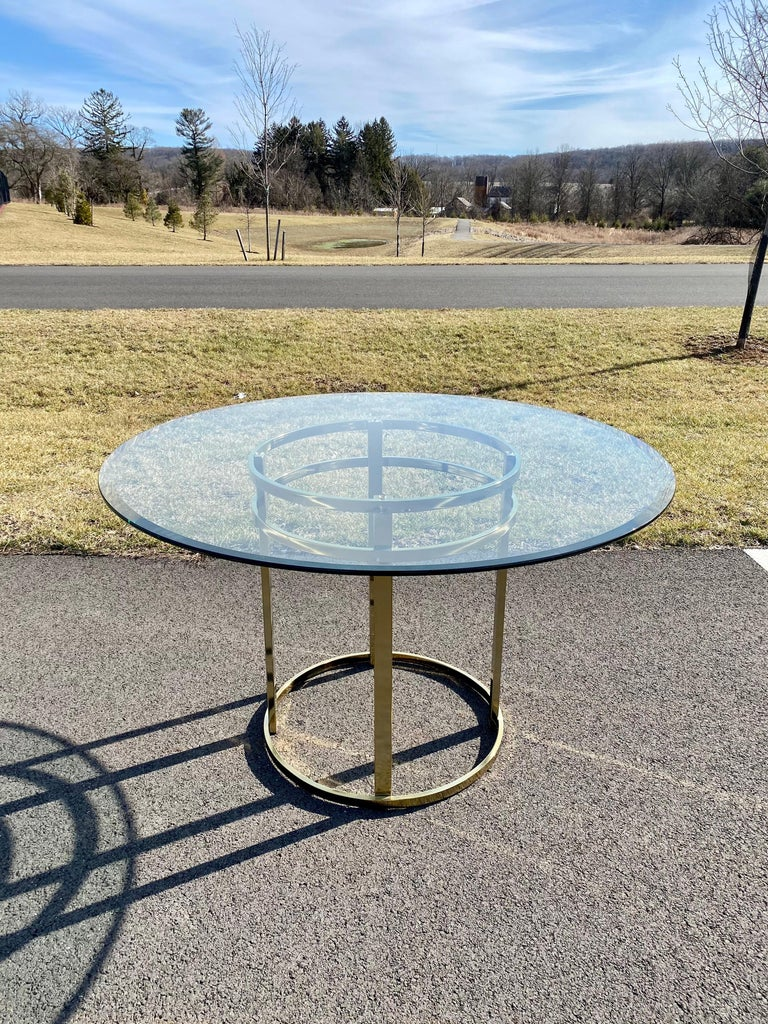 Mid-Century Modern Milo Baughman Style Brass Glass Round Dining Table For Sale 2