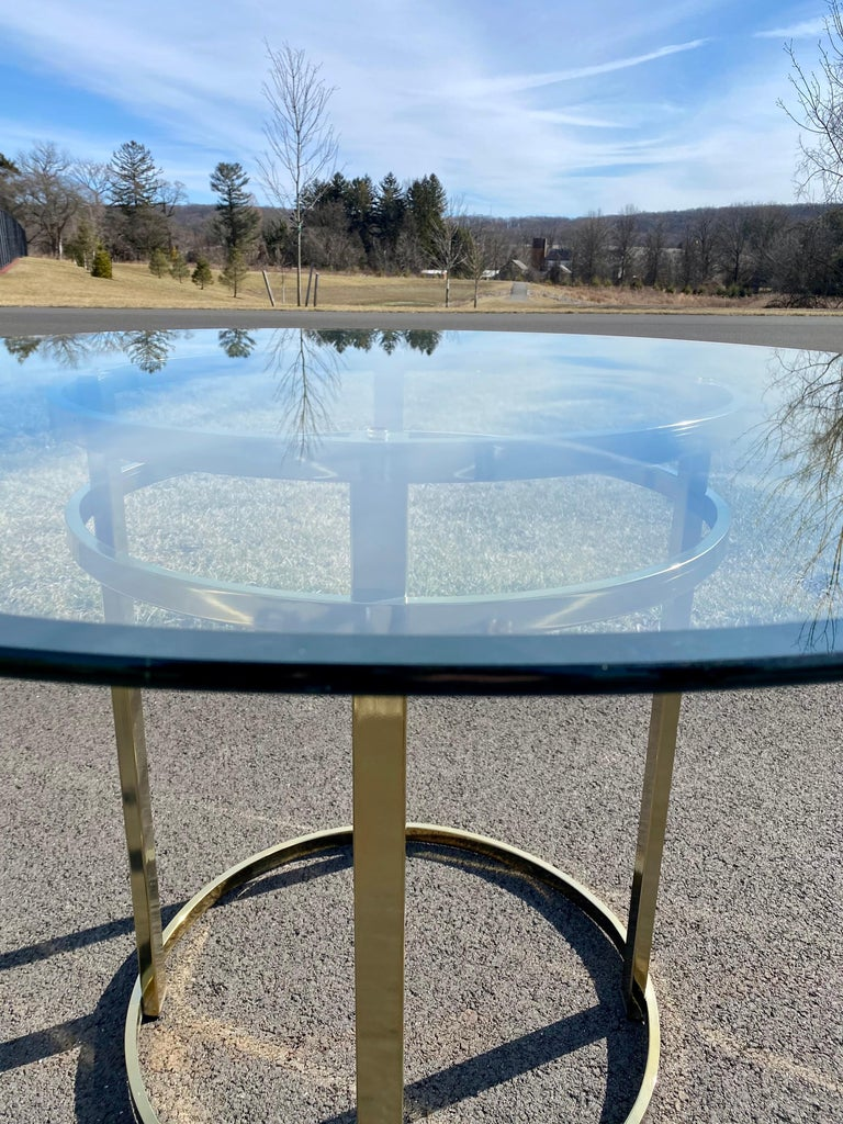 Mid-Century Modern Milo Baughman Style Brass Glass Round Dining Table For Sale 3
