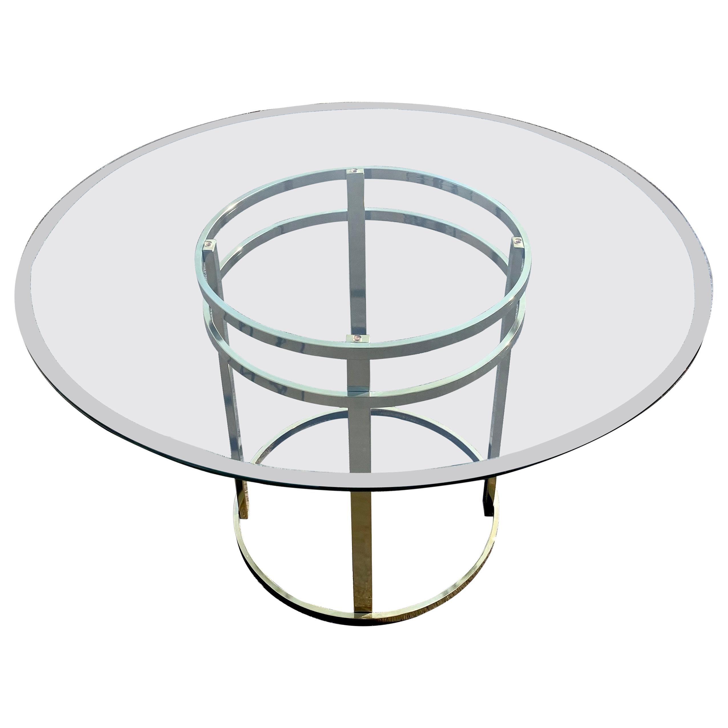 Mid-Century Modern Milo Baughman Style Brass Glass Round Dining Table