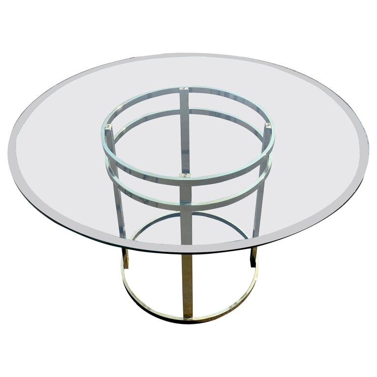 Mid-Century Modern Milo Baughman Style Brass Glass Round Dining Table For Sale