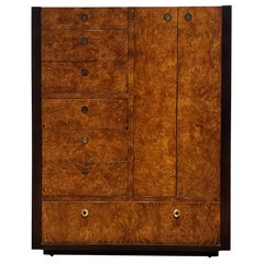 Mid-Century Modern Milo Baughman Style Burl and Dark Walnut High Chest by Centur