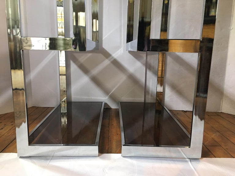 Mid-Century Modern Milo Baughman Style Chrome and Glass Etageres For Sale 1