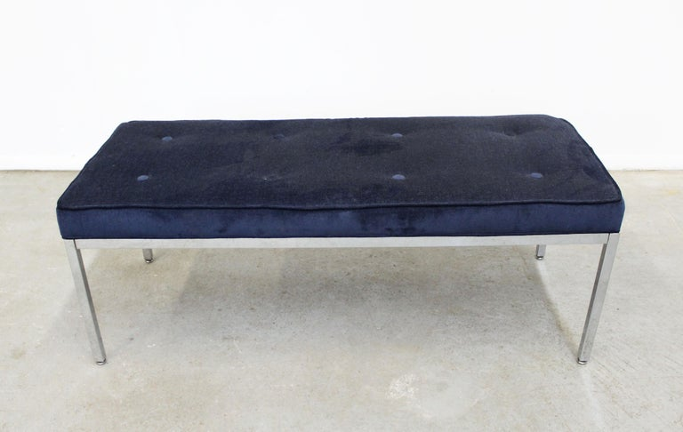 Offered is a gorgeous chrome and tufted upholstered bench similar to the style of Milo Baughman. It is in very good condition with little age wear (see photos). Upholstery is in usable condition-no tears or stains.