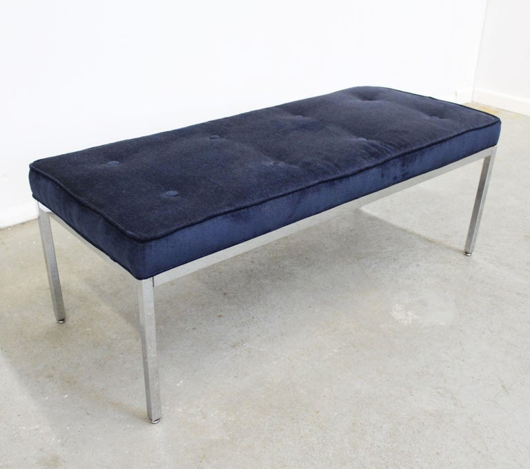 Unknown Mid-Century Modern Milo Baughman Style Chrome Bench For Sale