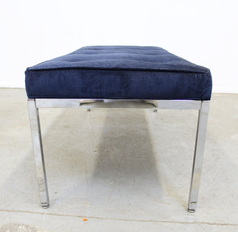 Upholstery Mid-Century Modern Milo Baughman Style Chrome Bench For Sale
