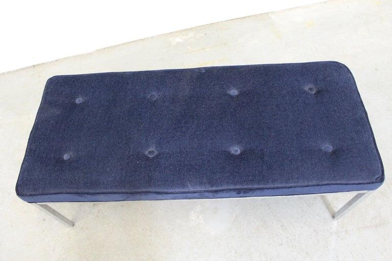 20th Century Mid-Century Modern Milo Baughman Style Chrome Bench For Sale