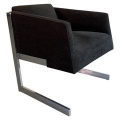 Mid-Century Modern Milo Baughman Style Chrome Cantilever Lounge Club Chair