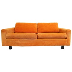 Mid-Century Modern Milo Baughman Style Founders 1st Edition Orange Loveseat