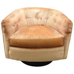 Mid-Century Modern Milo Baughman Style Swivel Barrel Back Chair