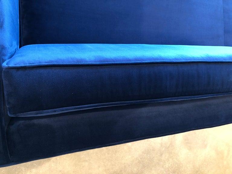 Mid-Century Modern Milo Baughman Style Tuxedo Sofa in New Blue Cotton Velvet For Sale 5