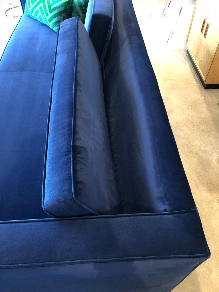 Mid-Century Modern Milo Baughman Style Tuxedo Sofa in New Blue Cotton Velvet For Sale 7