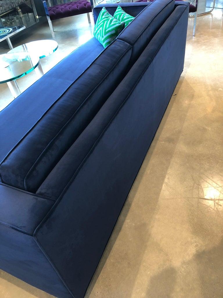 Mid-Century Modern Milo Baughman Style Tuxedo Sofa in New Blue Cotton Velvet For Sale 8