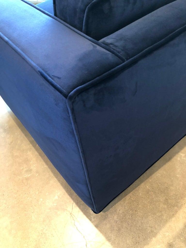 Mid-Century Modern Milo Baughman Style Tuxedo Sofa in New Blue Cotton Velvet For Sale 9