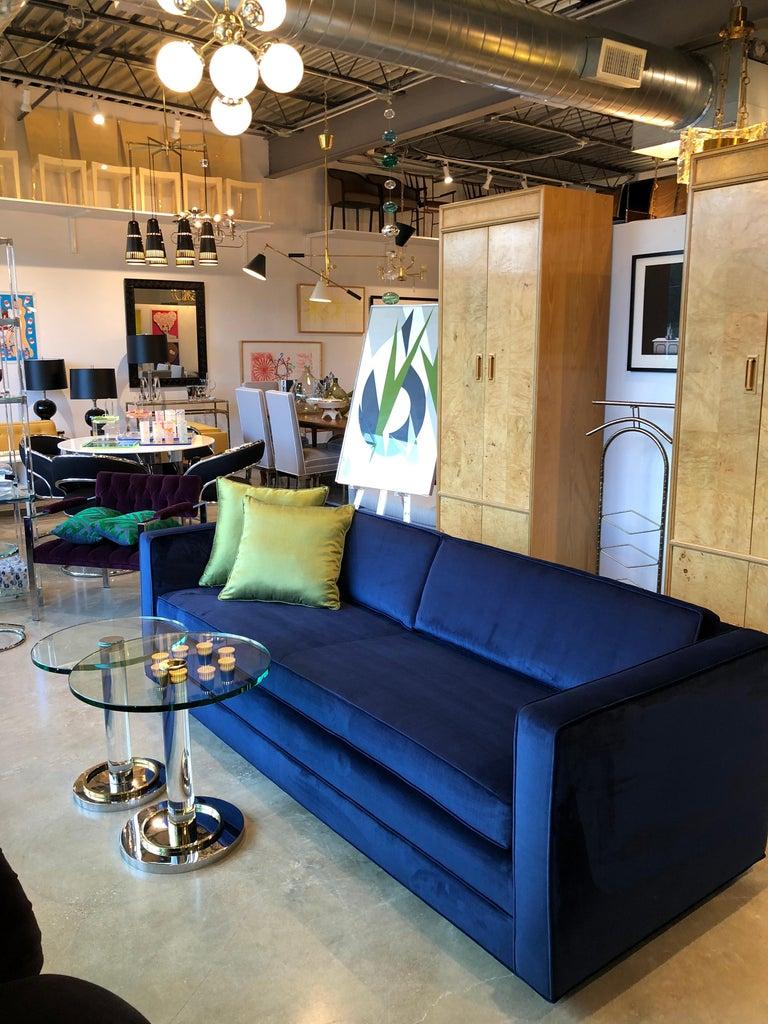 Mid-Century Modern Milo Baughman Style Tuxedo Sofa in New Blue Cotton Velvet For Sale 11