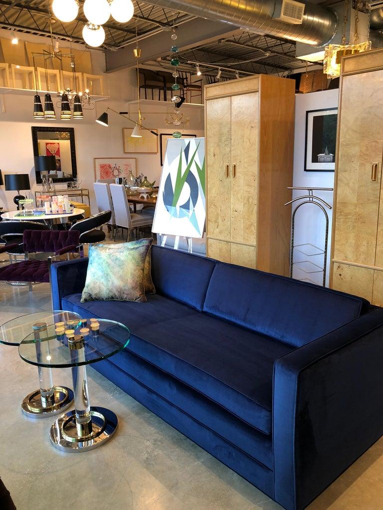 Mid-Century Modern Milo Baughman Style Tuxedo Sofa in New Blue Cotton Velvet For Sale 12