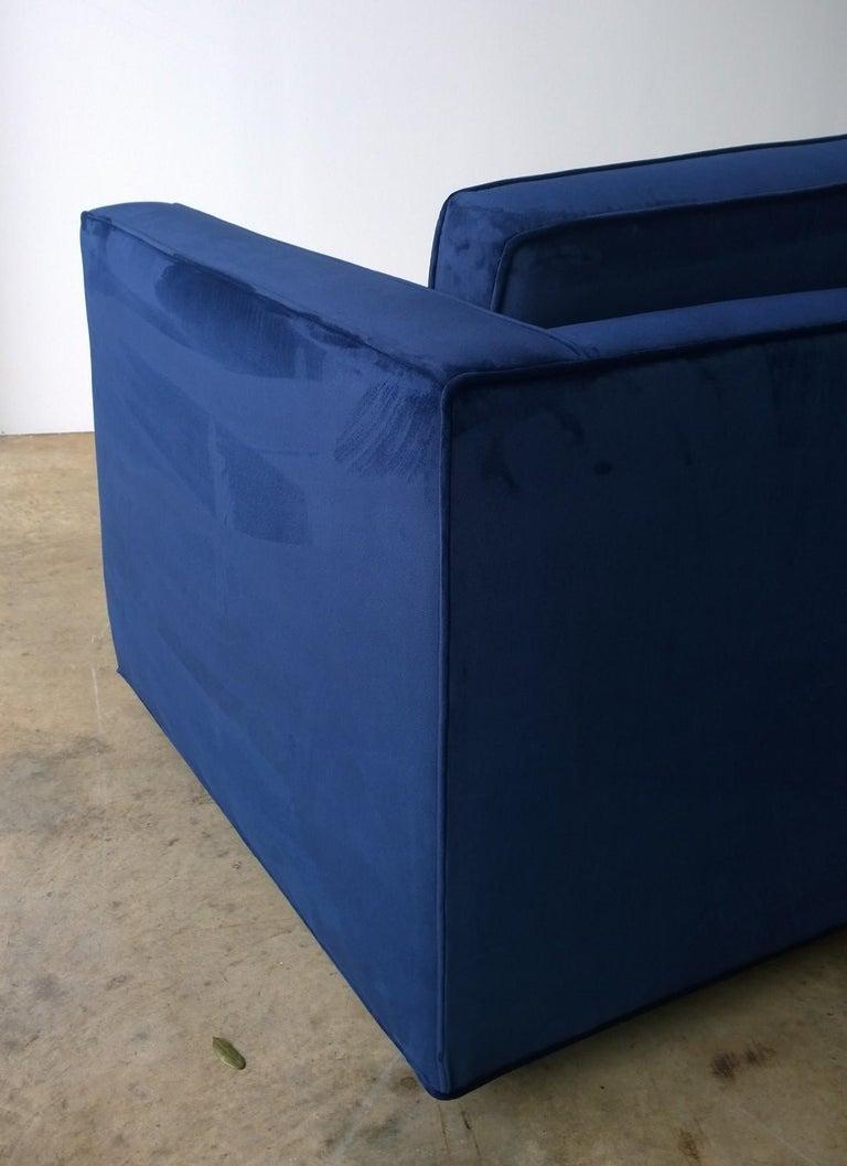 American Mid-Century Modern Milo Baughman Style Tuxedo Sofa in New Blue Cotton Velvet For Sale