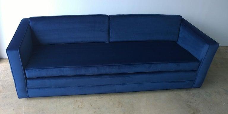 Mid-Century Modern Milo Baughman Style Tuxedo Sofa in New Blue Cotton Velvet In Good Condition For Sale In Houston, TX