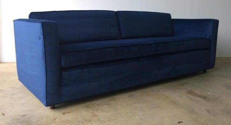 20th Century Mid-Century Modern Milo Baughman Style Tuxedo Sofa in New Blue Cotton Velvet For Sale