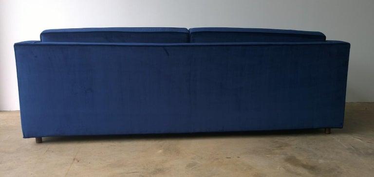 Fabric Mid-Century Modern Milo Baughman Style Tuxedo Sofa in New Blue Cotton Velvet For Sale
