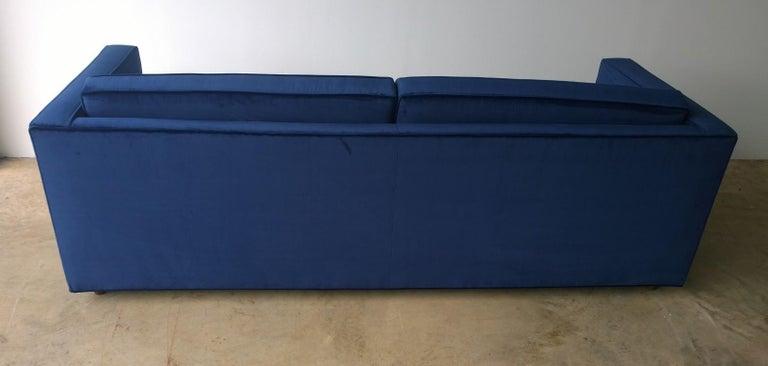 Mid-Century Modern Milo Baughman Style Tuxedo Sofa in New Blue Cotton Velvet For Sale 1