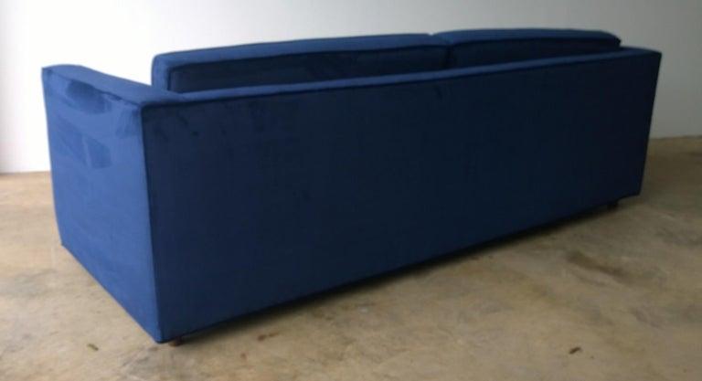 Mid-Century Modern Milo Baughman Style Tuxedo Sofa in New Blue Cotton Velvet For Sale 2