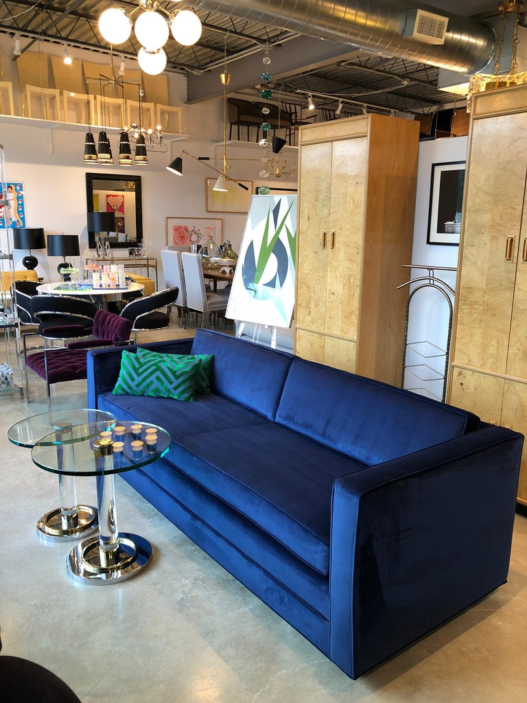 Mid-Century Modern Milo Baughman Style Tuxedo Sofa in New Blue Cotton Velvet For Sale 3