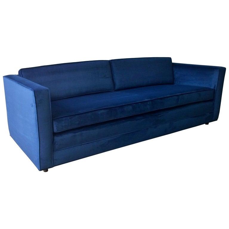 Mid-Century Modern Milo Baughman Style Tuxedo Sofa in New Blue Cotton Velvet For Sale