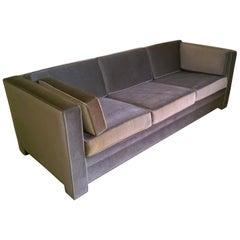 Mid-Century Modern Milo Baughman Style Upholstered in Gray Mohair Tuxedo Sofa