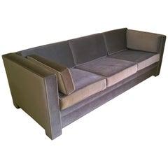 Mid-Century Modern Milo Baughman Style Upholstered in Mohair Tuxedo Sofa