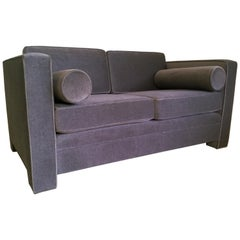 Mid-Century Modern Milo Baughman Style with New Mohair Wool Tuxedo Loveseat