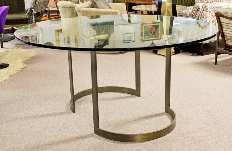 American Mid-Century Modern Milo Baughman Thayer Coggin Bronze & Glass Dining Table 1970s For Sale