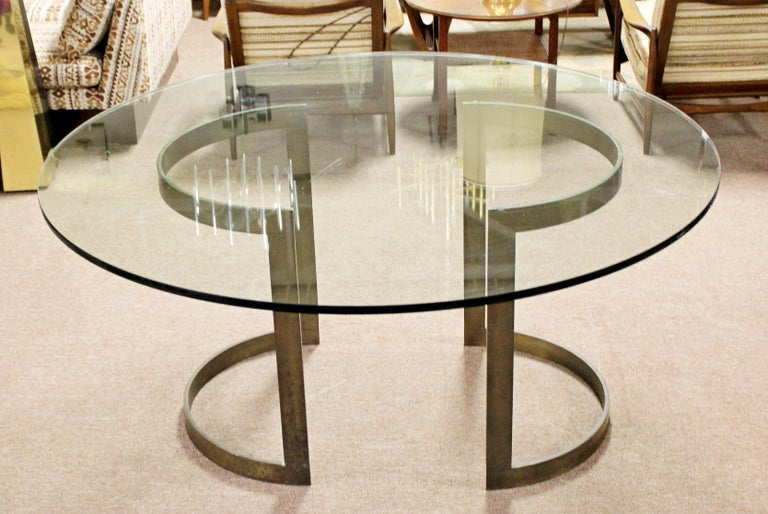 Mid-Century Modern Milo Baughman Thayer Coggin Bronze & Glass Dining Table 1970s In Good Condition For Sale In Keego Harbor, MI