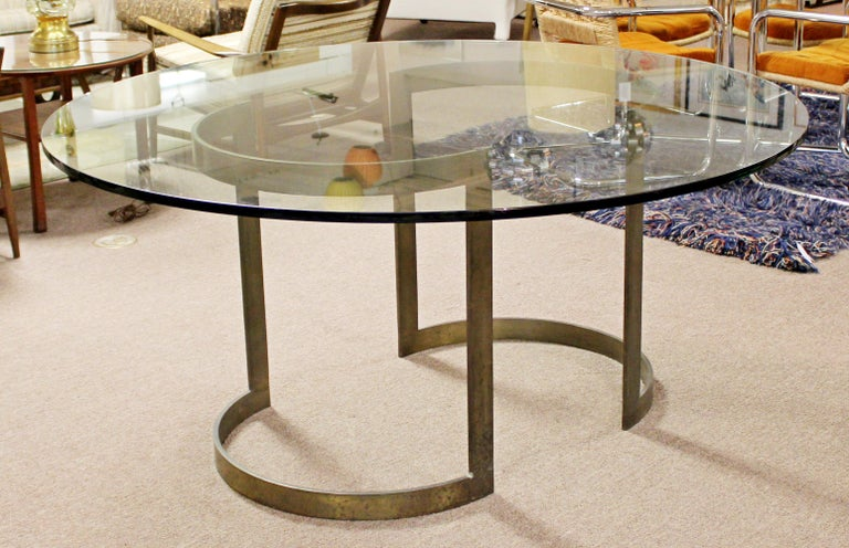 Late 20th Century Mid-Century Modern Milo Baughman Thayer Coggin Bronze & Glass Dining Table 1970s For Sale